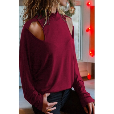 Lovely Casual Hollowed-out Red T-shirt