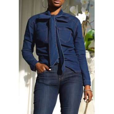 Lovely Casual Lace-up Blue Blending Shirts