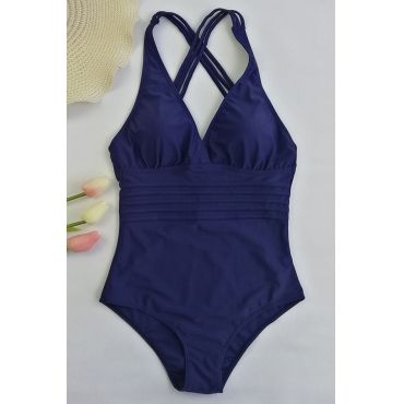 Lovely Sexy Backless Dark Blue One-piece Swimwears