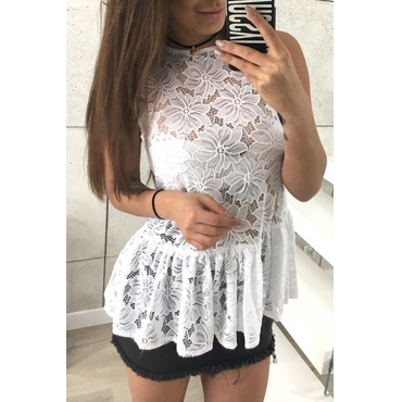 Lovely Chic Patchwork White Lace T-shirt
