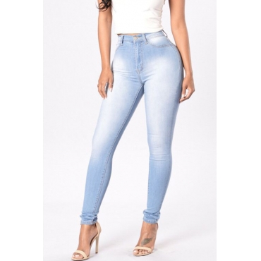 Lovely Trendy High Waist Zipper Design Baby Blue Denim Pants