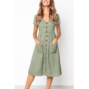 Lovely Casual V Neck Buttons Green Polyester Mid Calf Dress