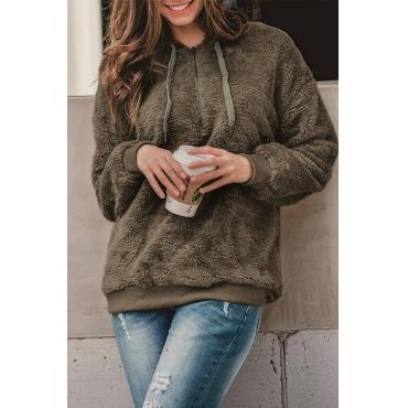 Lovely Casual Hooded Collar Long Sleeves Light Coffee Blending Hoodies
