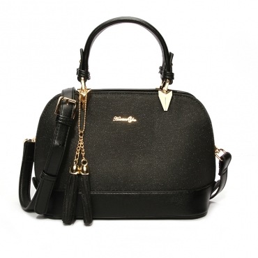 Lovely Trendy Patchwork Black Crossbody Bag