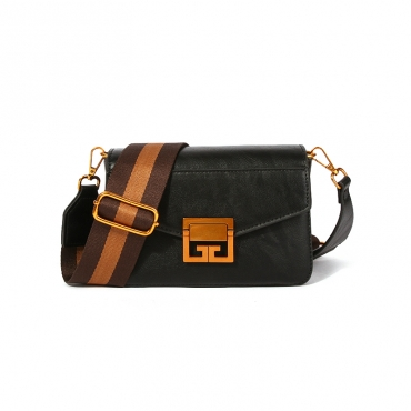 Lovely Trendy Zipper Design Black Crossbody Bag