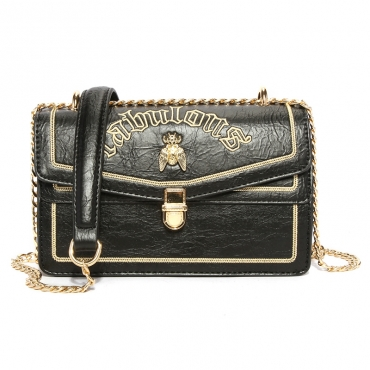 Lovely Trendy Metal Chain Strap  Black Crossbody Bag