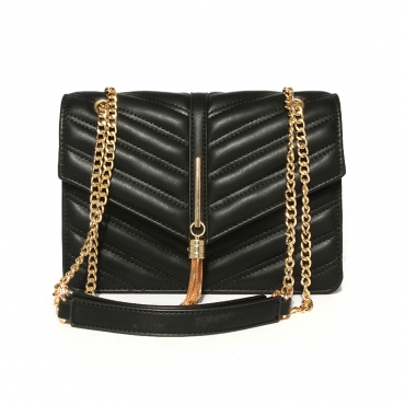 Lovely Vintage Metal Chain Strap  Black Crossbody Bag