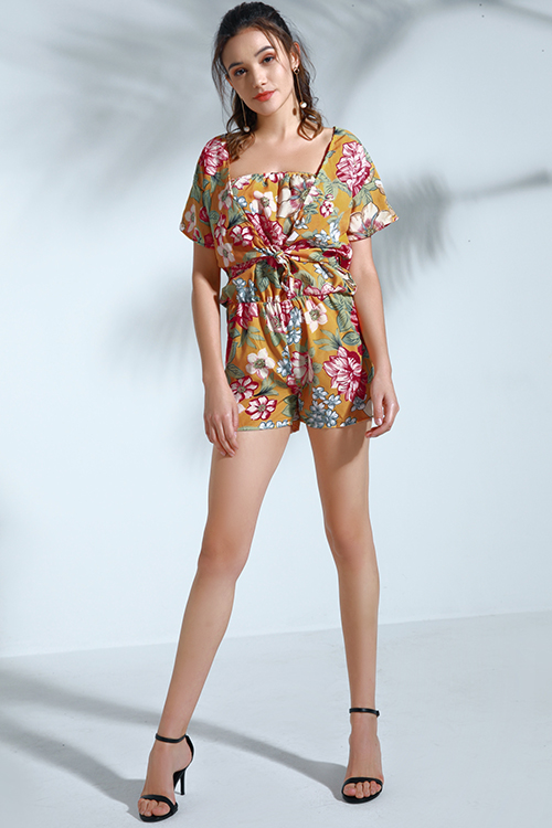 Lovely Trendy Dew Shoulder Yellow Chiffon Two-piece Shorts Set