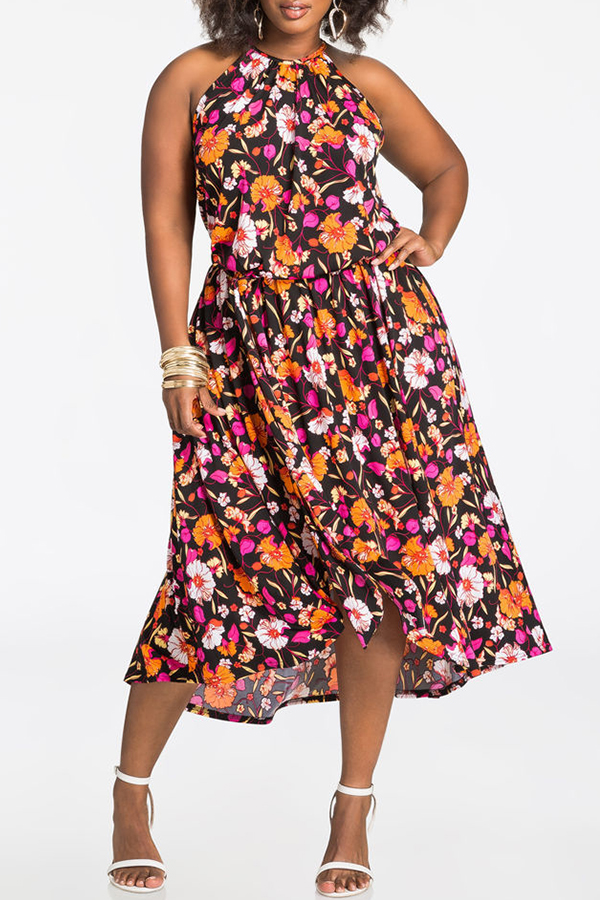 Lovely Casual Floral Printed Multicolor Cotton Mid Calf Dress