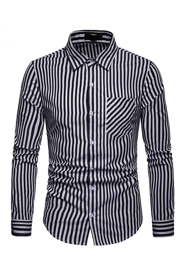 Lovely Trendy Striped Navy Black Cotton Shirts