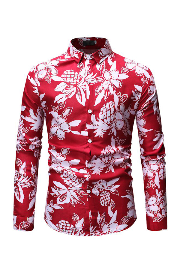 Lovely Casual Floral Printed Red Cotton Shirts