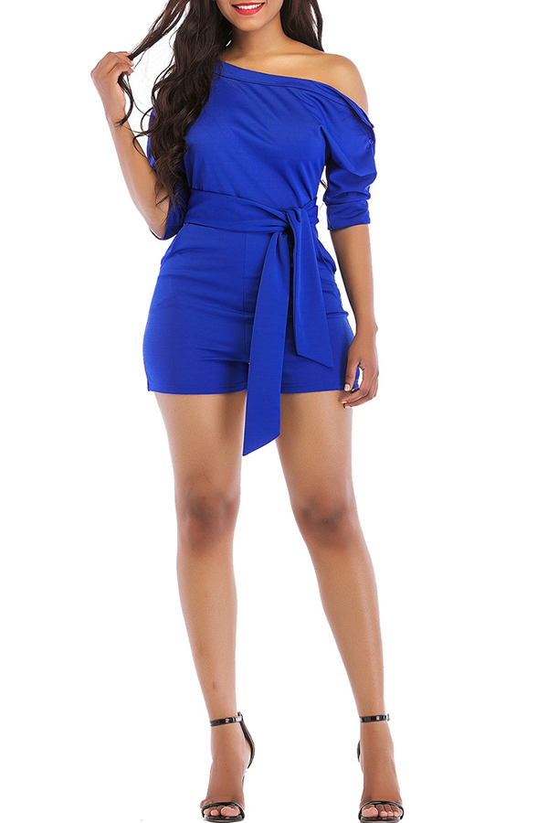 Lovely Casual Dew Shoulder Royal Blue One-piece Rompers(With Belt)