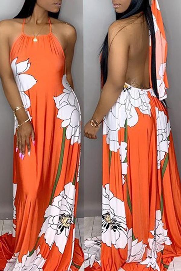Lovely Casual Loose Jacinth Knitting Floor Length Printed Dress
