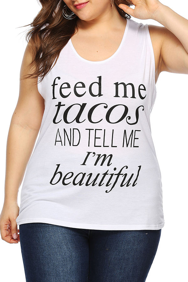 Lovely Casual Letters Printed Plus Size  White Cotton Blends T-shirt