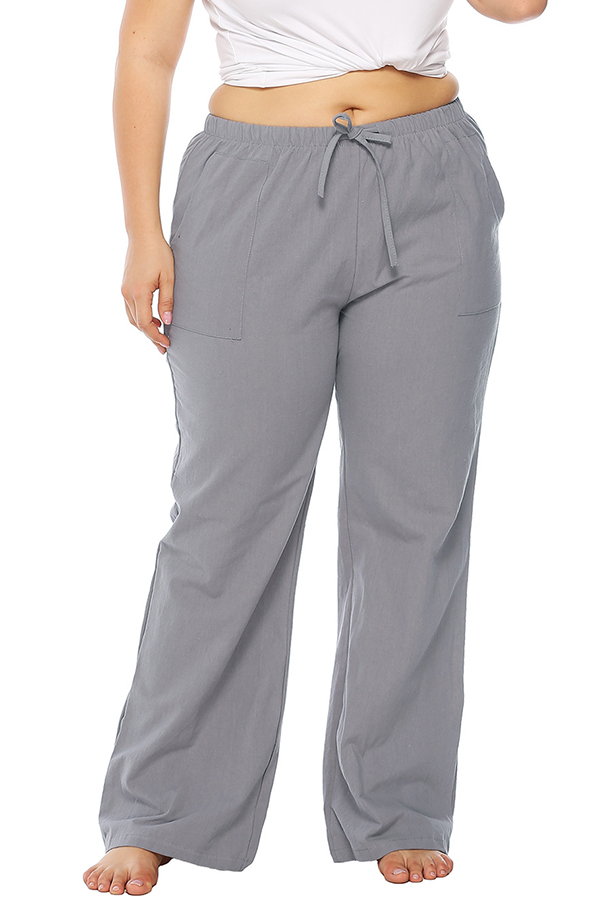 Lovely Casual Loose Grey Cotton Blends Pants