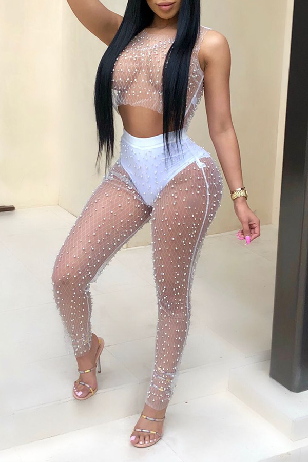 Lovely Sexy See-through White  Gauze Two-piece Pants Set(Without Underwear)