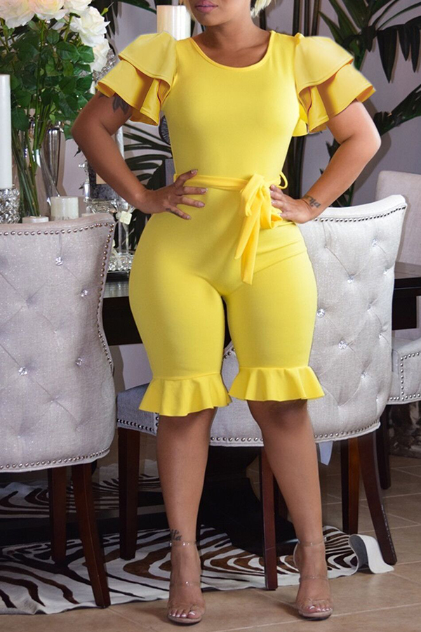 Lovely Casual Flounce Design Yellow Blending One-piece Rompers