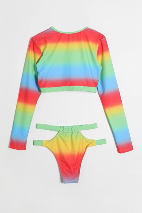 Lovely Trendy Gradual Change  Multicolor Two-piece Swimwear