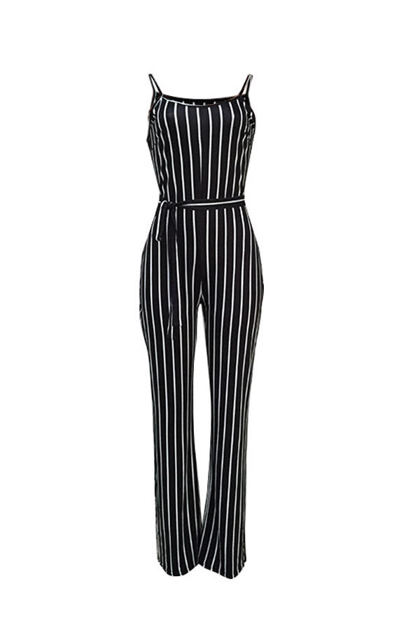 Lovely Trendy Striped Black One-piece Jumpsuit