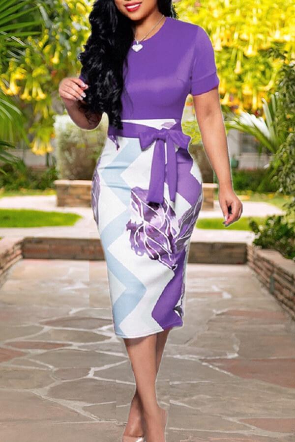 Lovely Work Lace-up Purple Knee Length Dress