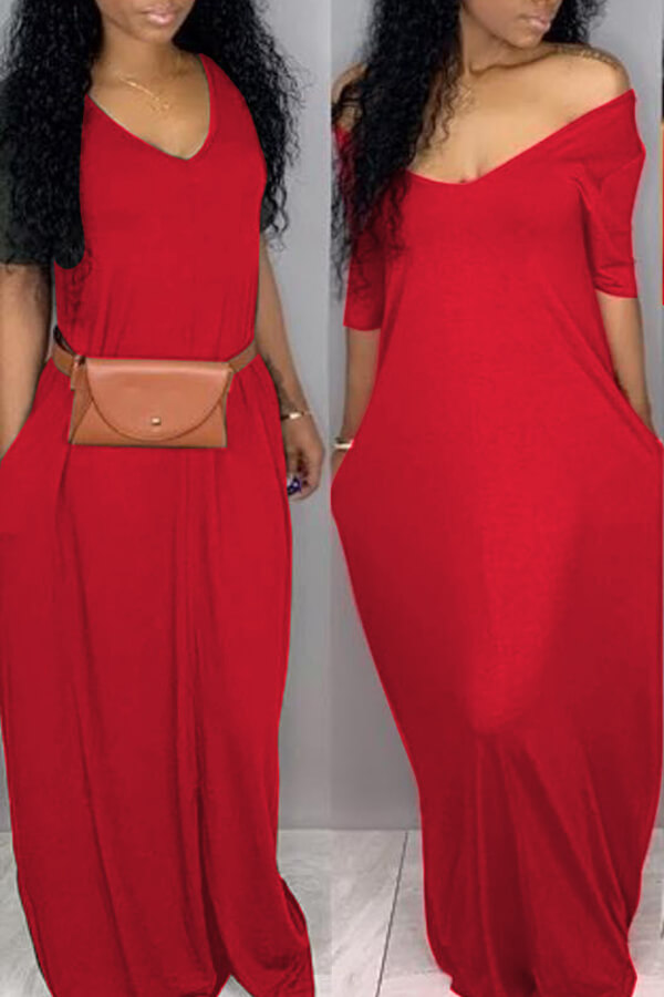 Dresses Lovely Casual Pockets Design Bright Red Blending Floor Length Dress фото