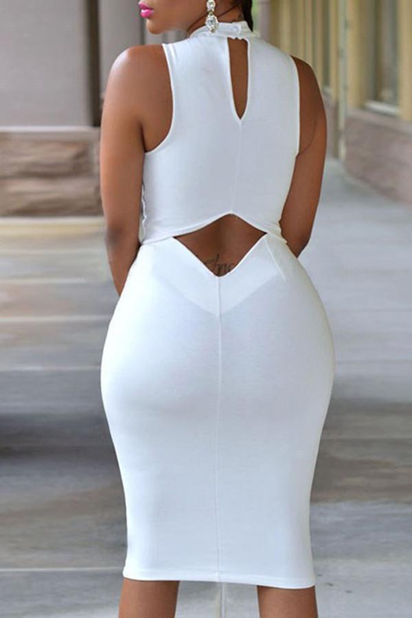 Lovely Work Tank Sleeveless White Knee Length Dress