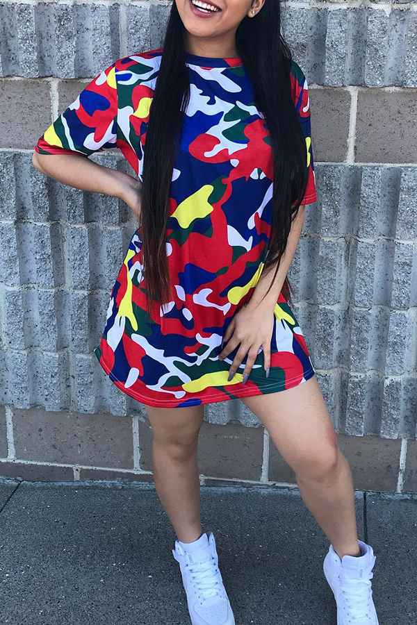Lovely Casual Loose Camouflage Printed Mini Dress