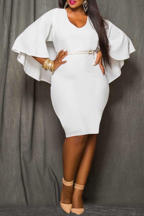 Lovely Work Cloak Design White  Knee Length Dress
