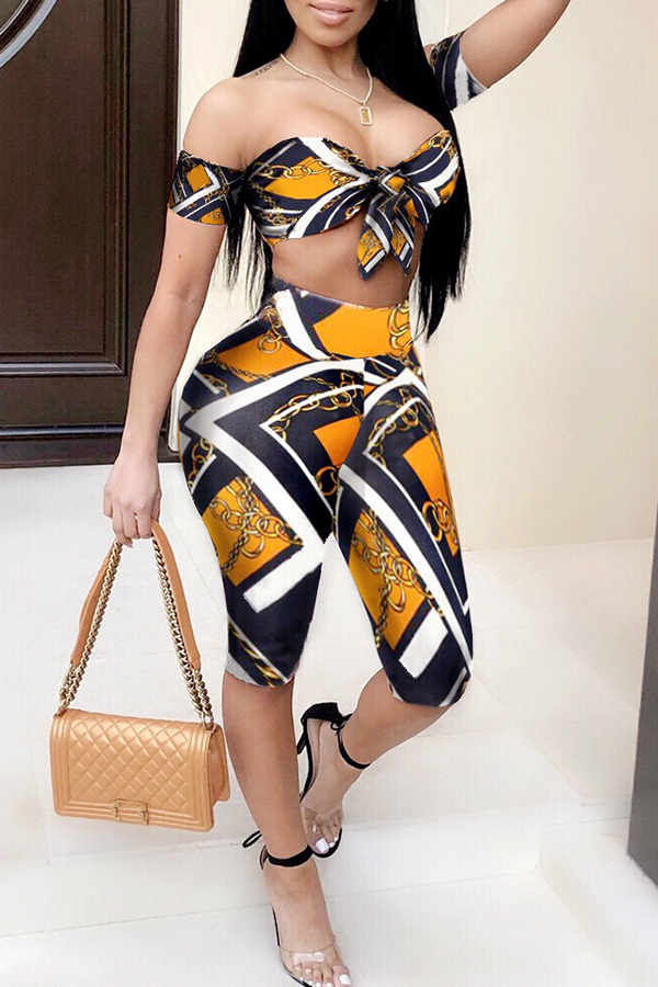 Lovely Casual Printed Sleeveless Strapless Two-piece Shorts Set