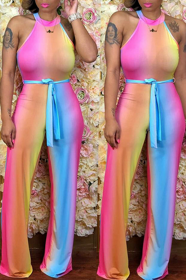 Lovely Casual Color-lump Multicolor Knitting One-piece Jumpsuit