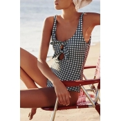 Lovely Vintage Grids Printed Black And White One-p