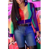 Lovely Casual Striped Short Multicolor Knitting Jacket