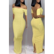 Lovely Trendy Backless Yellow Ankle Length Dress