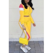 Lovely Casual Patchwork Yellow Cotton Blends Two-piece Pants Set