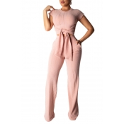 Lovely Trendy Knot Design Apricot Two-piece Pants Set