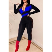 Lovely Trendy Patchwork Blue One-piece Jumpsuit