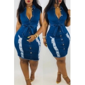 Lovely Casual Broken Holes Blue Denim Knee Length Dress (With Belt)