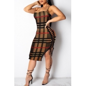 Lovely Trendy Grids Printed Brown  Knee Length Dre