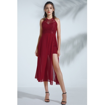 Lovely Vintage Patchwork Wine Red Mid Calf Dress