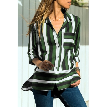 Lovely Casual Striped Green Chiffon Blouses