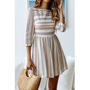 Lovely Trendy Striped Yellow Mini Dress