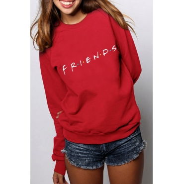 Lovely Casual Printed Loose Red Cotton Sweatshirt