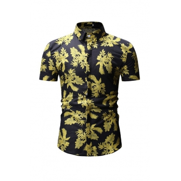 Lovely Trendy Floral Printed Black Cotton Shirts
