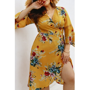 Lovely Bohemian Lace-up Printed Yellow Knee Length Dress
