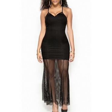 Lovely Sexy Patchwork Black Blending Knee Length Dress