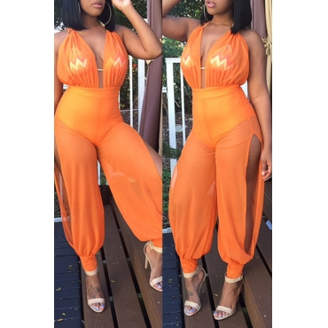 Lovely Sexy Patchwork Orange Gauze One-piece Jumpsuit (Without Bra)