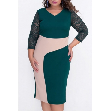 Lovely Casual Color-lump Green knee Length Dress