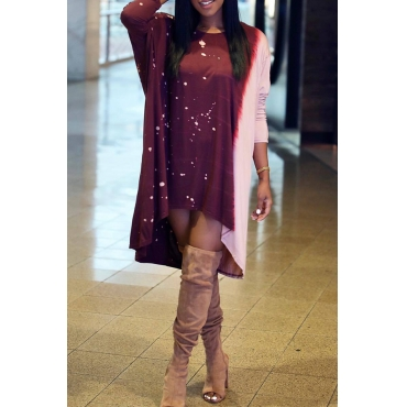Lovely Casual Asymmetrical Wine Red Blending Knee Length Dress