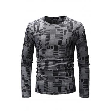 Lovely Trendy Color -lump Deep Grey Blending T-shirt