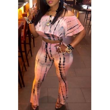 Set Di Pantaloni A Due Pezzi Rosa Adorabile Spalla Dolce Rugiada